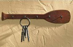 Cabin Lodge Lake Beach Style Distressed Paddle Oar Key Hook Board- 5 Hooks (Distressed Cabin Brown) Park Designs #canoe #keys