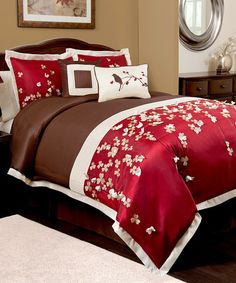 Take a look at this Red Flower Drops Comforter Set by Triangle Home Fashions on #zulily today! $120