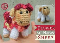 Sheep free amigurumi crochet pattern. Easy pattern, simple to follow, and beginner friendly. Make your own amigurumi sheep and add some flowers.