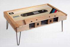 Retro Cassette Tape Table - Cassette Tape Coffee Table, Mixtape Coffee Table, LED Cup Holders