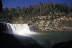 This is Cumberland Falls. It is one of the only places in the known universe to be able to create a moonbow. A moonbow is a rainbow created by mist and moonlight. It happens on the full moon. It is located in Kentucky.