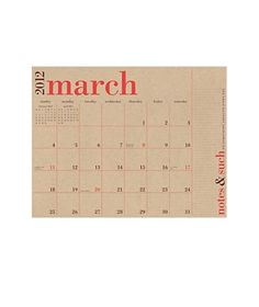 2012 Great Big Wall Calendar    At two feet wide, this recycled paper calendar is roomy enough to handle your busy schedule. Complete with a dedicated section for notes and numbers.