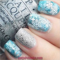 92 Awesome Snowflake Nail Art Designs for Winter 2020 – nageldesign. Christmas Gel Nails, Christmas Nail Art Designs, Winter Nail Designs, Winter Nail Art, Best Nail Art Designs, Holiday Nails, Winter Nails, Christmas Snowflakes, Winter Art