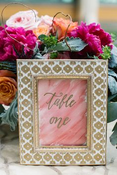 Custom watercolor and gold calligraphy table number by Cali O'Rourke Calligraphy
