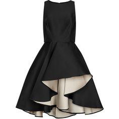 Halston Heritage Black Flared Faille Dress - Size 6 ($665) ❤ liked on Polyvore featuring dresses, high low skater skirt, mullet dress, pleated skater skirt, skater skirt and hi lo dress