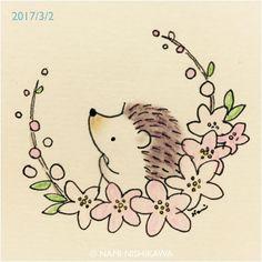 1134 #桃の花 peach blossoms #illustration #hedgehog #イラスト #ハリネズミ #桃の節句 #ひな祭り #なみはりねずみ #illustagram