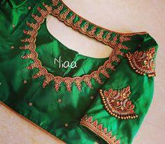 Beautiful 20 Maggam Designs on Blouse – Niaa Boutique Blouse Back Neck Designs, Cutwork Blouse Designs, Saree Kuchu Designs, Best Blouse Designs, Hand Work Blouse Design, Stylish Blouse Design, Bridal Blouse Designs, Blouse Patterns, Aari Work Blouse
