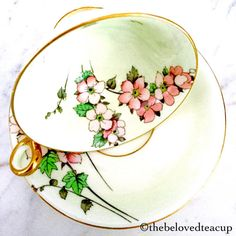 Lovely Radfords Fenton Cherry Blossom tea cup and saucer set on a pale yellow background, set is in excellent antique condition. ~Complimentary antique sugar spoon included with every purchase~ **The Beloved Teacup combines and discounts shipping when possible, please convo us to
