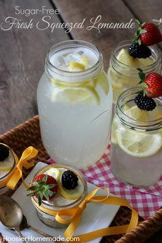 Sugar-Free Fresh Squeezed Lemonade | Recipe on HoosierHomemade.com