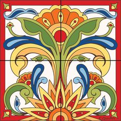 Mural Red Talavera Design decorative art tile is hand painted and hard fired at over 1800 degrees making it ready for use indoors or outdoors Tile Murals, Tile Art, Azulejos Art Nouveau, Art Decor, Decoration, Talavera Pottery, Tuile, Southwest Decor, Decorative Tile