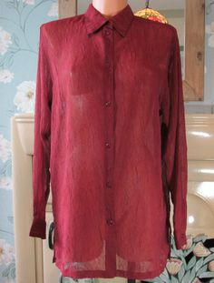 Vintage semi sheer soft crinkle effect long tunic blouse shirt top UK 14 R12018