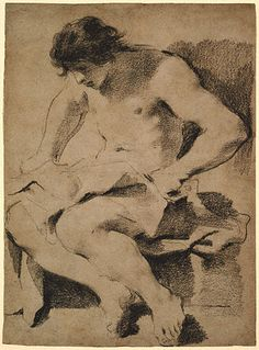 Guercino (Italian) | c. 1619 | Black chalk dipped in gum, heightened with white chalk on brown paper