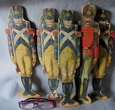 15 Antique 19thC Wood Toy Soldiers, Military Toy, Game