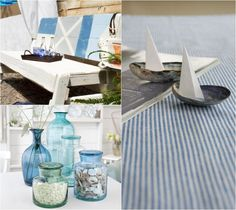 déco de table marine - vases en verre bleu remplis de coquillages et voiliers décoratifs