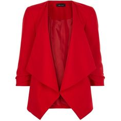 Red Ruched Sleeve Waterfall Blazer ($36) ❤ liked on Polyvore featuring outerwear, jackets, blazers, 3/4 sleeve blazer, red jacket, evening jackets, waterfall blazer and open front blazer