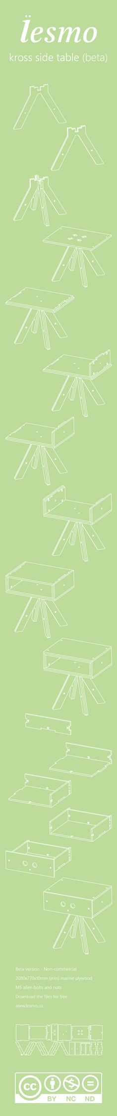 kross side table by lesmo- Free DIY CNC furniture by Paulo Victor Santos, via Behance