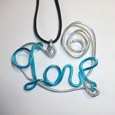 Collier coeur en fil alu turquoise et argent