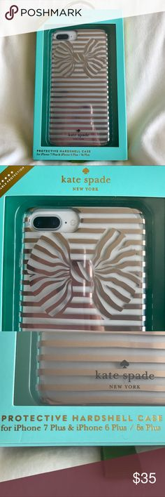 Kate Spade Case for iPhone 7 Plus & 6s Plus Brand new in the box. Protective Hardshell for iPhone 7 Plus or 6s Plus. Metallic design of Painterly Bow in Gold. Shock-resistant bumper to  provide long lasting protection. Lightweight, easy-grip design. kate spade Accessories Phone Cases