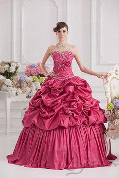 Ball Gown Sweetheart Satin Taffeta Crystal Quinceanera Dress