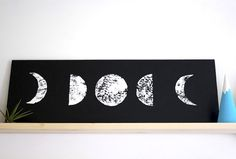 moon phase painted wall hanging.... this would be cool as a cross stitch!