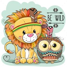 Buy Cartoon Tribal Lion and Owl by on GraphicRiver. Cute Cartoon tribal Lion and owl with feather Lion Tribal, Tribal Animals, Owl Feather, Feather Wall Art, Owl Cartoon, Cute Cartoon Animals, Cute Lion, Cute Owl, Hanging Tapestry