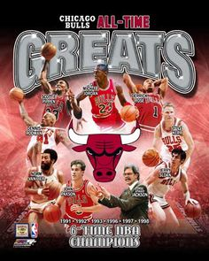 Chicago Bulls All-Time Greats (9 Legends, 6 Championships) Premium Poster Print - Photofile