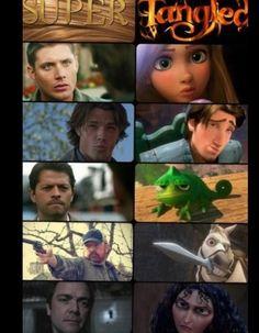 supernatural & tangled why would you do this??? hahaha @Caroline Coogan