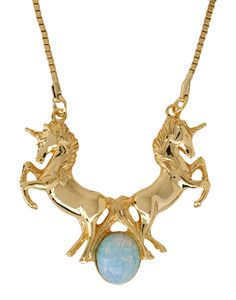 """""""ME & ZENA Necklace""""  Fabulous Unicorn necklace in brass and copper, complete with opalescent stone. Isn't it gorgeous? #unicorn #gold #necklace"""
