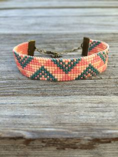 Bracelet tissage de perles miyuki rose et bleu