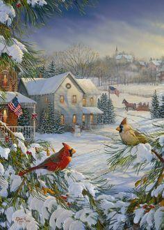 Winter Cardinals Birds Jigsaw Puzzle