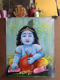 African Art Paintings, Oil Pastel Paintings, Bal Krishna, Krishna Art, Canvas Painting Tutorials, Diy Canvas Art, Ganesha Drawing, Indian Art Gallery, Little Krishna