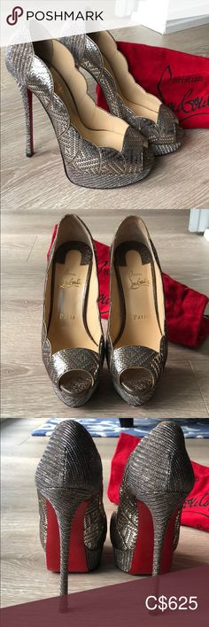 I just added this listing on Poshmark: Christian Louboutin Torsatoe pumps. Silver Pumps, Peep Toe Platform, Christian Louboutin Shoes, Adhesive, Dust Bag, Kitten Heels, Sad, Metallic, Shoes Heels
