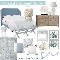 A soft blue, white and neutral color palette perfect for a coastal bedroom!
