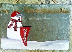 Ohio State Buckeye Slate sign winter snowman address by kpdreams, $22.00