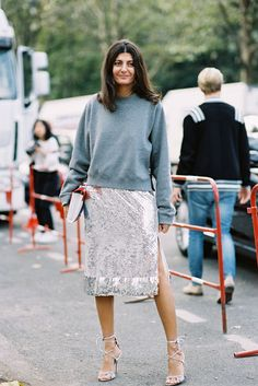 W Magazine's, Giovanna Battaglia, after Celine, Paris, October 2015. Love Giovanna's beautiful sequined skirt with her lovely grey sweater. A lovely way to wear something super sparkly during the day.