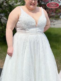 Freesia is a stunning a-line wedding dress featuring a V-neckline, gorgeous lace and beading thoughout! #ImAtEO #elegant #elegantoccasions #bride #bridetobe #2021bride #2022bride #wedding #weddingideas #weddingdress #weddingdressideas #plussize #plussizedress #lace #vneck #ido #idocrew #brideandgroom Plus Size Prom, Bridesmaid Dresses Plus Size, Plus Size Wedding, Prom Dresses, Formal Dresses, Bridal Gowns, Wedding Gowns, Bridal Suite, Weddingideas