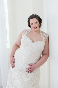 fd05c2d4a4 Plus Size wedding dress. Fitted a-line with Queen-Anne neckline. Lace