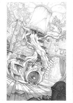 eching Rapunzel Manor by Sixtine-D Art And Illustration, Fantasy Kunst, Fantasy Art, Art Sketches, Art Drawings, Arte Steampunk, Art Environnemental, Environment Sketch, Art Du Croquis