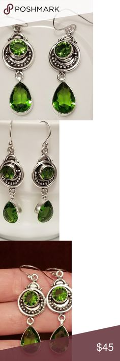 """🆕️Sterling Silver - Green Peridot Earrings JUST IN- BRAND NEW!!🎉🎉  Handcrafted  Sterling Silver ( STAMPED 925 ) Green Peridot Earrings Length: 2.22"""" Jewelry Earrings"""