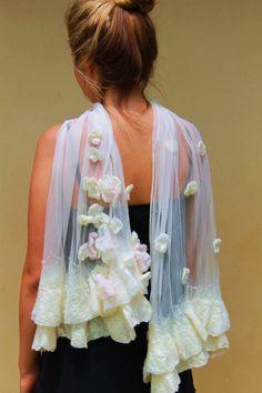 Silk Chiffon Wedding Wrap Bridal Shawl Nuno Felt Made to Order. $159.00, via Etsy.