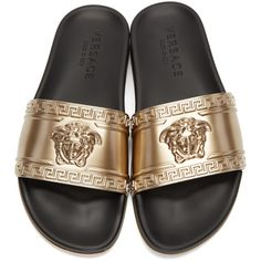 VERSACE Medusa Head Beach Slides ($310) ❤ liked on Polyvore featuring shoes, versace footwear, open toe flat shoes, open toe shoes, glamorous shoes and versace shoes