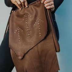 the 'maoli' flap bag in the softest brown leather.natural flap and arrow studs with a cross body strap. Leather Craft, Leather Bag, Brown Leather, Everyday Bag, Handmade Shop, Festival Fashion, Cross Body, Bespoke, Bucket Bag