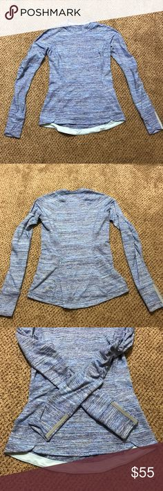 🇺🇸 Sale! Lululemon long sleeve Great condition, light blue heathered blue top. Sz 6 no offers lululemon athletica Tops