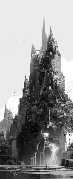 citadel, black and white illustration