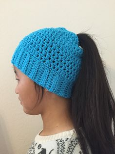 Soft and Comfortable Woman's Crochet Messy Bun Beanie, Messy Bun Hat, or Ponytail Hat Available in 16 colors