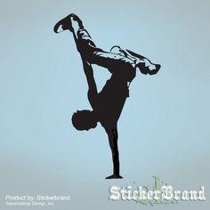 Dancer Silhouette #1 Vinyl Wall Decal Jumping Guy  Club Dance Crew Hip Hop