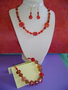 SALE  Christmas Holiday Necklace Set.   Red by MyGrandmasHome