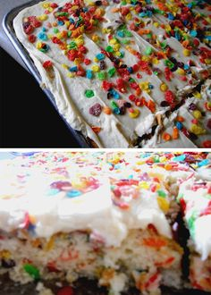 Fruity Pebbles Sheet Cake..this would have been my dream cake when I was little!