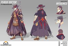 It's finally October and spooky skins are my favorite, so I thought a Plague Doctor Ana skin would be fitting! Tried to tie her grandma vibe to the plague doctor concept and that ended up looking kinda witchy. I think it works! Female Character Concept, Female Character Design, Character Art, Character Ideas, Fantasy Inspiration, Character Inspiration, Overwatch Skin Concepts, Overwatch Wallpapers, Overwatch Fan Art