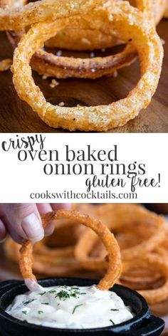 These oven baked onion rings are also gluten free onion rings! And they are just… These oven baked onion rings are also gluten free onion rings! And they are just as crunchy and delicious as their fried onion ring counterparts,… Continue Reading → Gluten Free Snacks, Foods With Gluten, Gluten Free Cooking, Dairy Free Baking, Gluten Free Dinner, Gf Recipes, Dairy Free Recipes, Easter Recipes, Wheat Free Recipes
